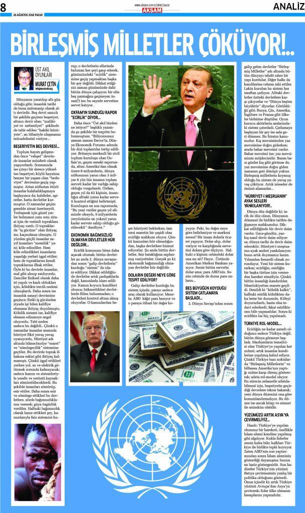 Birleşmiş Milletler Çöküyor - Akşam Gazetesi - Pazar Yazısı